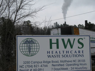 BMWNC medical waste incinerator, owned by Healthcare Waste Solutions, located in Matthews, Mecklenburg County, NC